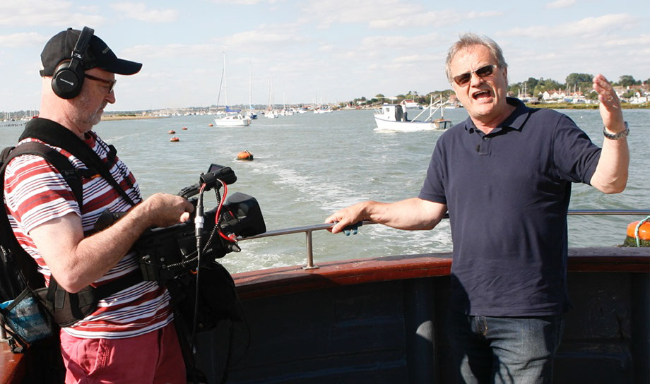 Having just left West Mersea on their way to  Ross Revenge, Bob does a piece to camera.