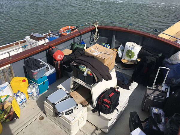 All the remaining kit in our tender, ready to be taken to Ross Revenge, home of Radio Caroline.