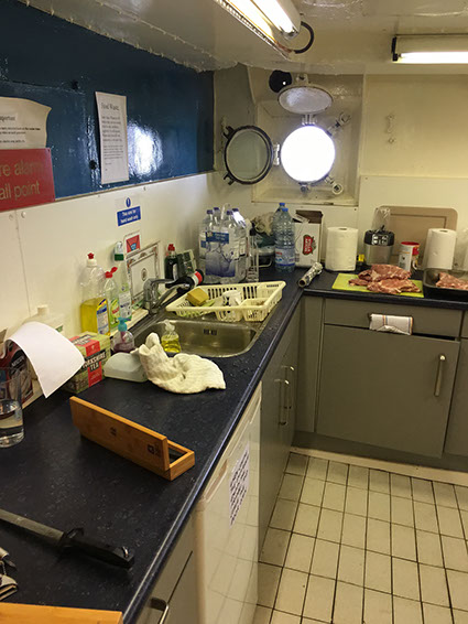 The Ross' galley, food being prepared for the GB5RC special event station.