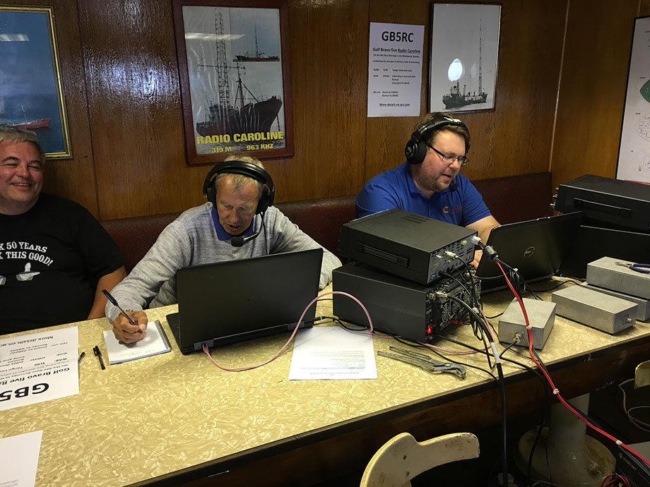 Bill, G1WJR on the left working 20m and Mark, M0MJH on the right working 40m from Ross Revenge while Tony, G0MBA watches.